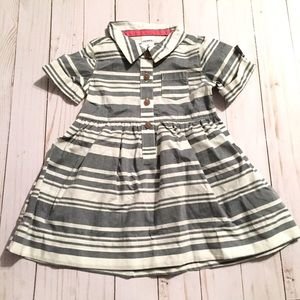 Trendy Baby Girl Gray White Striped Shirtdress
